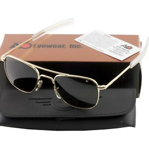 AO American Optical Military Aviator Gold Frames 52 mm Sunglasses ... 49801d39081