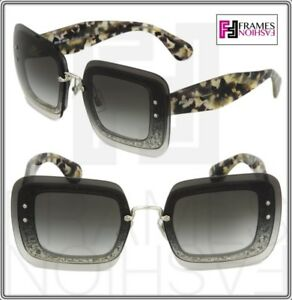 2c32ca51202 Image is loading MIU-MIU-REVEAL-Sunglasses-MU01RS-Transparent-Grey-Glitter-