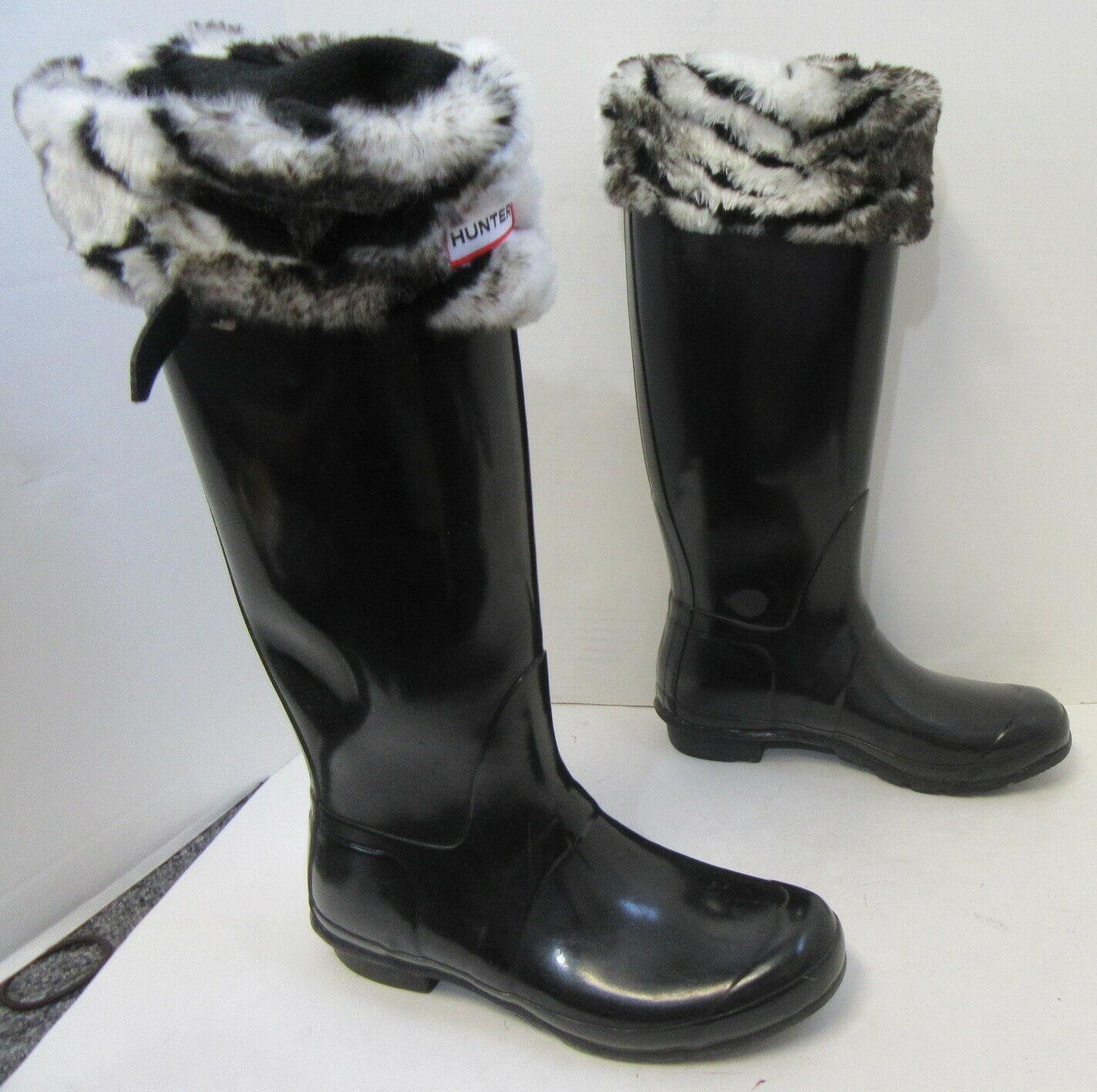 HUNTER Black Tall Rain Boots w/ Fleece Zebra Sock… - image 4