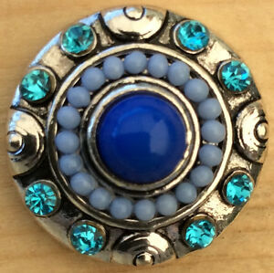 $= Snap Chunk Silver With Blue Beads & Sets Charm Fit Snap Bracelet & Necklace