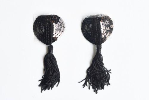 strip tease Nipple Covers Coeur Noir Black  Cache tétons Bijoux de seins