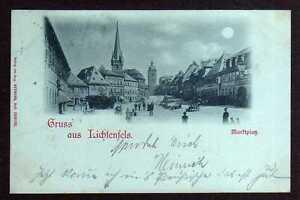 98933-AK-Lichtenfels-Marktplatz-Mondscheinkarte-um-1900-rechts-Hotel-Kro