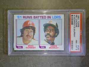 MIKE-SCHMIDT-EDDIE-MURRAY-1982-Topps-163-RBI-Leaders-Vintage-Graded-PSA-8-NM