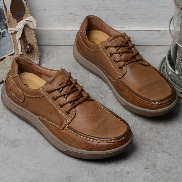 Uomo Lace up Pelle Driving Shoes Retro Formal Boat Casual Soft Sole Shoes  e883
