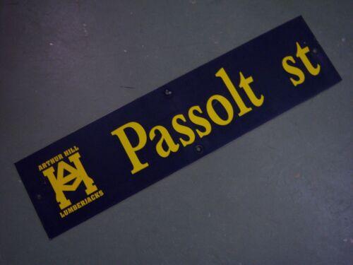 "Vintage ARTHUR HILL PASSOLT ST STREET SIGN 36/"" X 9/"" GOLD LETTERING ON BLUE"