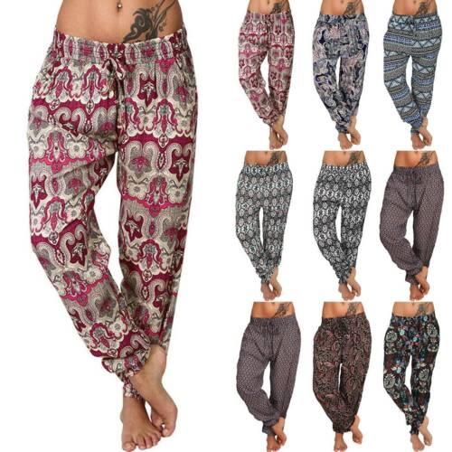 Womens Floral Alibaba Aladdin Harem Pants Baggy Yoga Retro Trousers Plus Size 14