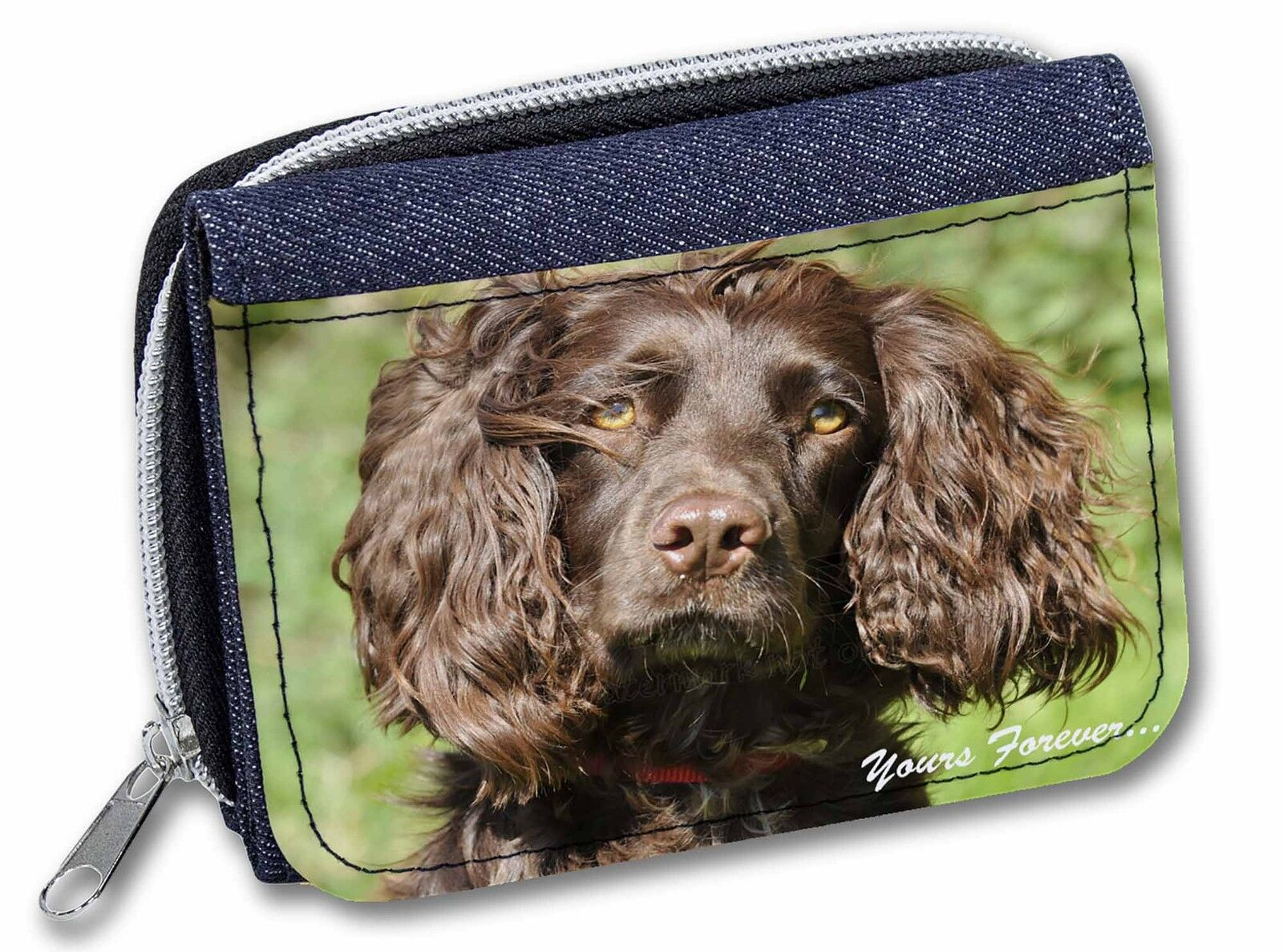 Chocolate Spaniel 'Yours Forever' Girls/Ladies Denim Purse Wallet Chr, AD-SC4yJW