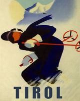 Ski Skiing Tirol Sport Alps Austria Travel 16x20 Vintage Poster Free S/h