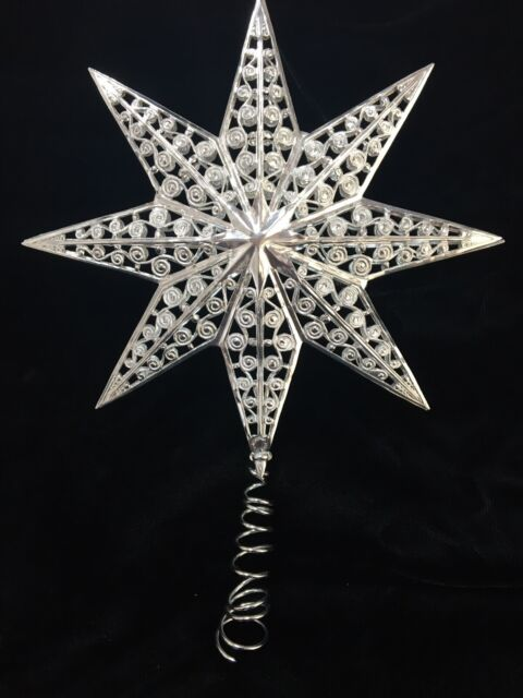 "Star Tree Topper Small Silver Filigree Wire Christmas Metal 6/"" Kurt Adler"