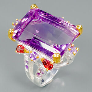 Top-color-30ct-Natural-Amethyst-925-Sterling-Silver-Ring-Size-8-R89415