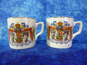 PAIR-Vintage-King-George-V-amp-Queen-Mary-Silver-Jubilee-SMALL-CUPS-1910-35-Royal
