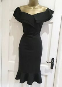 Quiz-New-Womens-Black-Frill-Hem-Bardot-Party-Evening-Bodycon-Dress-Size-8-18