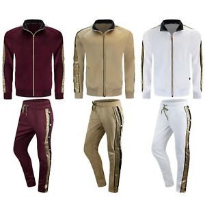 NEW-Men-Fleece-Sweatsuit-Tribal-Gold-Foil-Track-Suit-Jacket-Hooded-Long-Sleeve