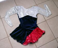 NEW GIRLS Blue RED White SEQUIN Patriotic AMERICAN Figure ICE SKATING Dress 8/10