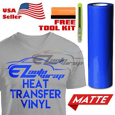 """Heat Press Matte Blue Heat Transfer Vinyl HTV T-Shirt 20/"""" Wide Roll Iron On"""
