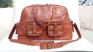 Men-039-s-Genuine-Leather-Large-Vintage-Duffle-Travel-Weekend-Overnight-Gym-Bag