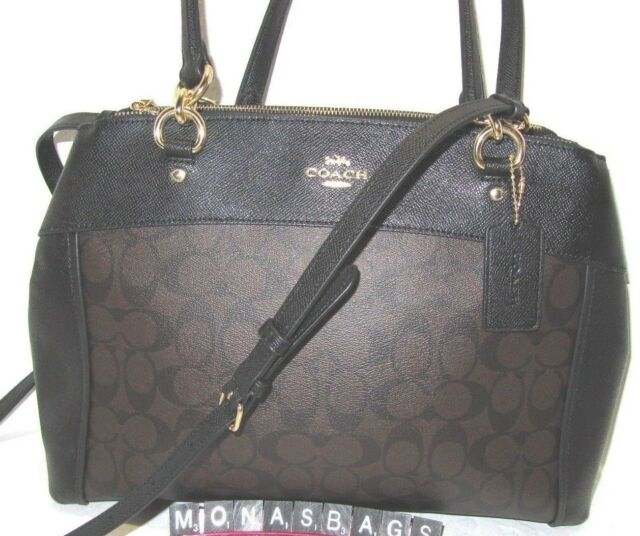 3dd4928daed Coach F26140 Large Brooke Signature Carryall Satchel Bag Black   Brown NWT   450