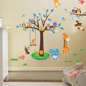 Details zu Wandtattoo Tiere Kinderzimmer Bär Eule Baum Baby Sticker  Aufkleber Junge Sticker