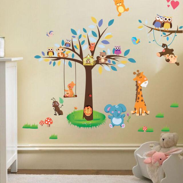 Wandtattoo Sticker Aufkleber Tiere Wald Wandsticker Affe Baby Baum Kind