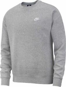 Details about Men's NIKE Crew Neck Tracksuit Fleece Sweatshirt Grey Sports  top size L