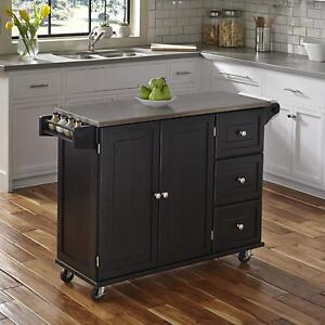 Details about Stainless Steel Top Black Kitchen Island Cart Rolling Utility  Wood Cabinet Rack