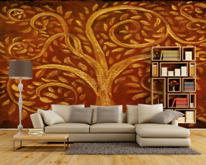 3D golden Tree 753 Wall Paper Murals Wall Print Wall Wallpaper Mural AU Kyra