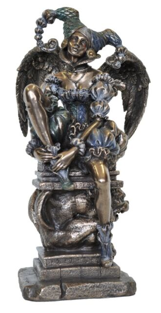 Veronese Bronze Figurine Medieval magic Dark Angel Jester Statue Gift Home Decor