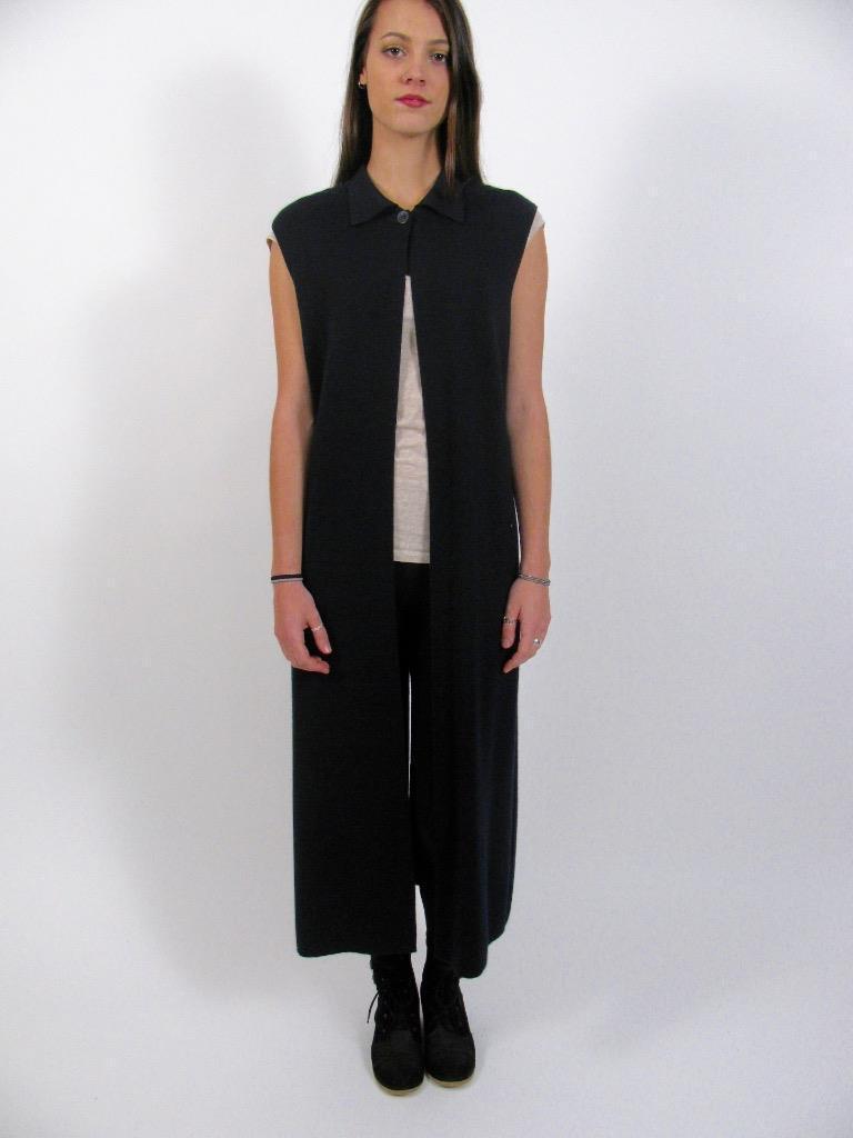 RODIER Francia Negro De Lana Tejido Vestido Suéter  Largo Abrigo Chaleco Excelente Estado  M  Seleccione de las marcas más nuevas como