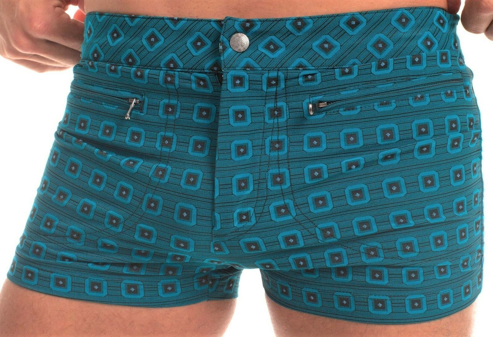 MR TURK 'Jones Beach Vintage Squares Jacquard' Men's Swim Trunks Shorts 30  NWT