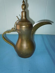 VINTAGE HEAVY BRASS PITCHER EWER TEA POT PAKISTAN UNIQUE LONG SPOUT HALLMARKED