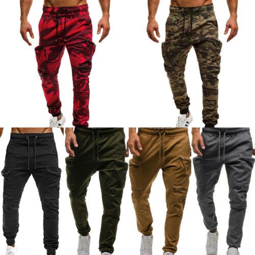 Mens Camo Slim Fit Tracksuit Bottoms Skinny Jogging Joggers Sweatpants Trousers
