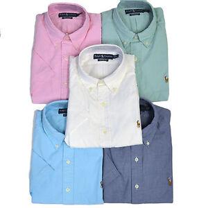 Polo ralph lauren mens oxford shirt custom fit short for Polo ralph lauren casual button down shirts