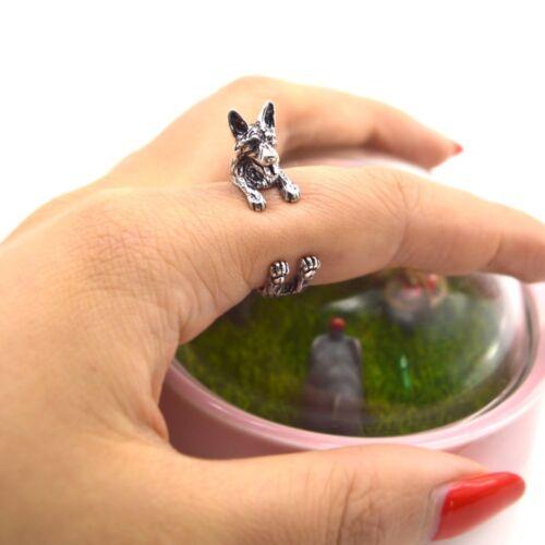 Men Vintage 3D German Shepherd Puppy Ring Anillos Boho Chic Anel Animal Rings