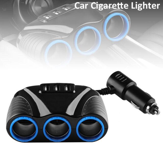 12v 3Way Car Cigarette Lighter Socket Splitter 3USB In Car Charger Power Adapter