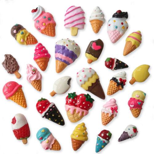 Ice Cream Lollies Dessert Mix Resin Flatback Cabochons Embellishments Charms