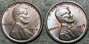 1917 1919 Lincoln Cent Wheat Penny  ---- GEM BU+ Lot   ----  #A837