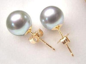 Beautiful-Seashell-Grey-Shell-Pearl-10-mm-Gold-Filled-Stud-Earring