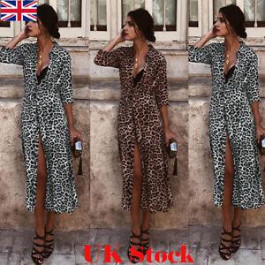 b30e895579 New Women Long Sleeve Holiday Leopard Printed Maxi Dress V-neck Long ...