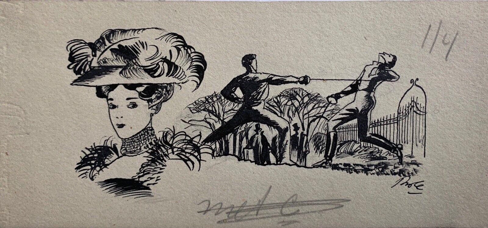 """Photo 1 - Karel Thole - illustrazione originale anni '60 """"Il Duello"""" - Firmata"""