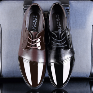 Men-039-s-Leather-Dress-Formal-Oxfords-Shoes-Black-Brown-Business-Casual-Shoes