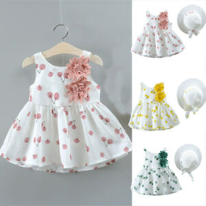 2Pcs-Toddler-Kid-Baby-Girl-Cherry-Printed-Princess-Dress-Hat-Outfits-Set-Clothes