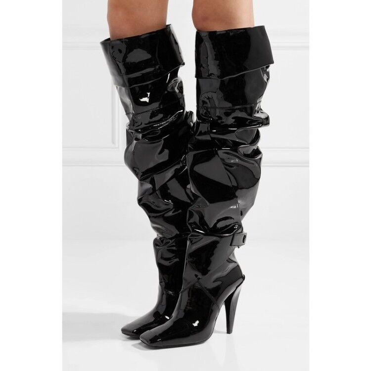BLack Womens Over Knee Thigh High Boots Patent Leather Pull On Slim Heels shoes
