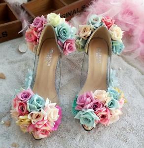 Womens-Pointy-Toe-Transparent-Stilettos-High-Heel-Floral-Shoes-Pump-Sandals-Flat
