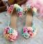 Womens-Pointy-Toe-Transparent-Stilettos-High-Heel-Floral-Shoes-Pump-Sandals-Flat thumbnail 1