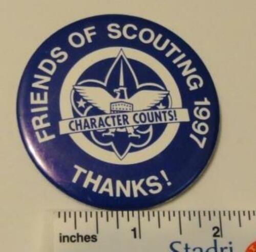 """New Condition 1997 Friends of Scouting 2 1//2/""""  Pinback Button"""