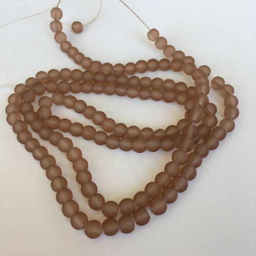 80cm Strand 6mm Round Transparent Bead 140X Pieces Brown Frosted Glass Beads