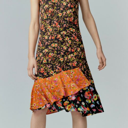 Warehouse Floral Volants Ourlet Robe 6//8 RRP £ 59