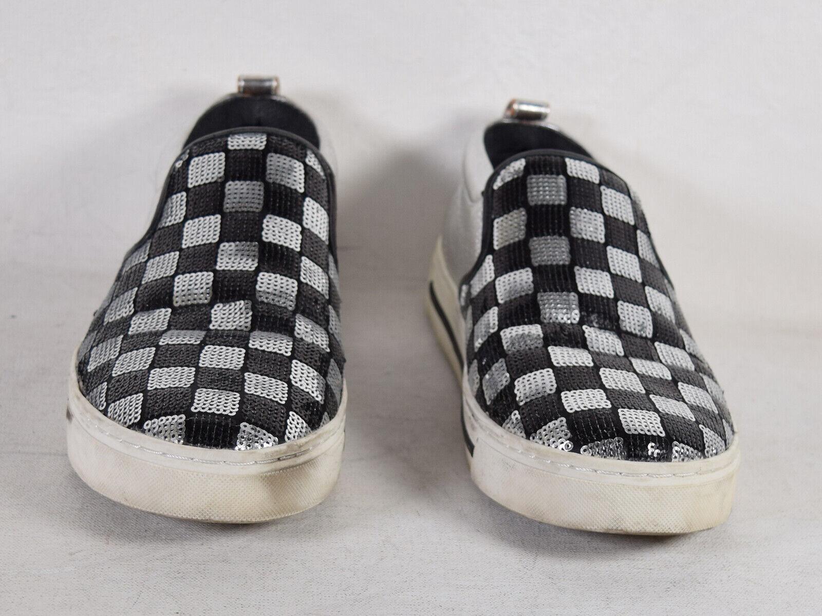 Marc Jacobs kvinnor Mercer svart silver Checkboard Sekiner Sneeaker 36
