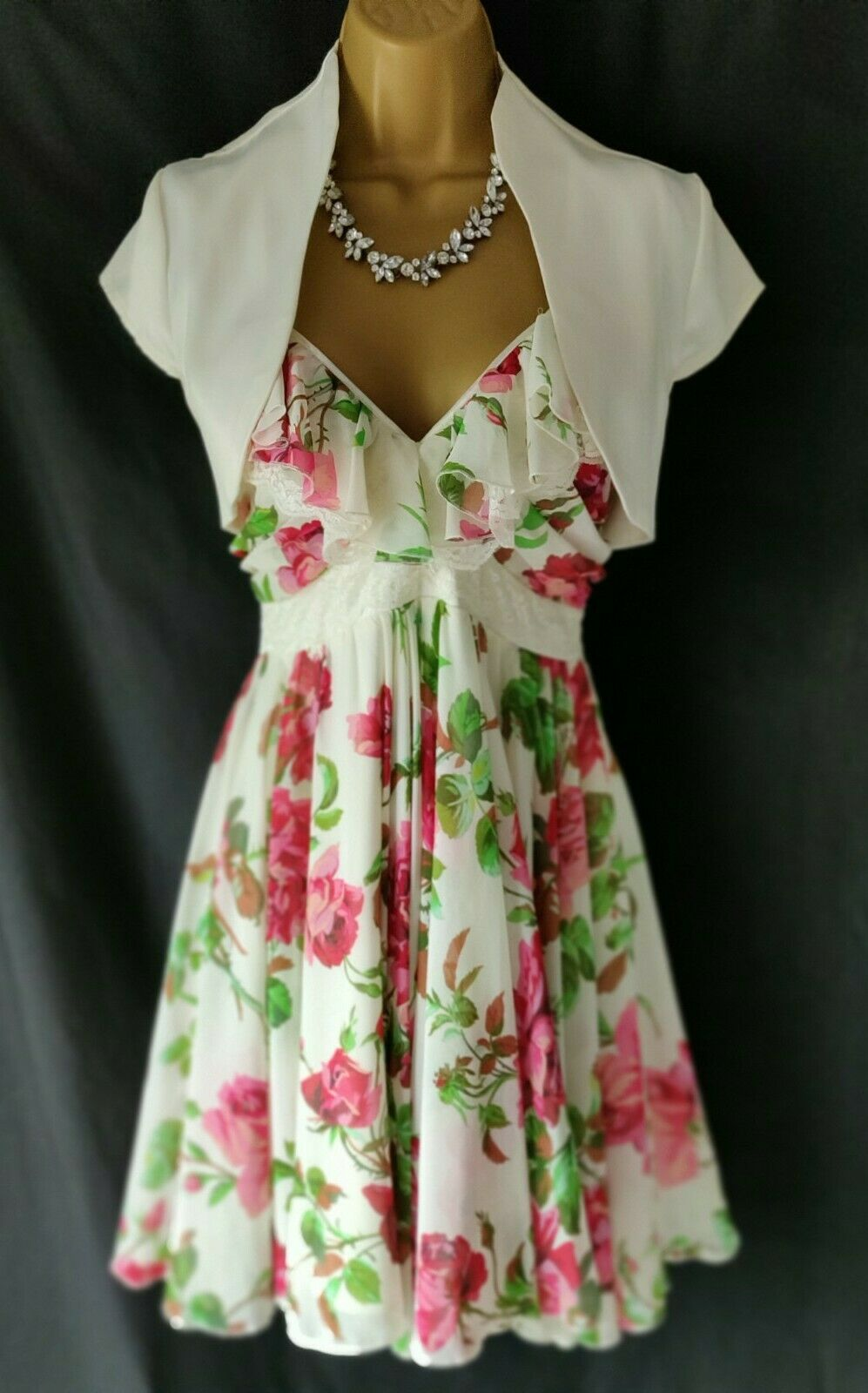 Ladies/Women's Ivory, Pink & Green Wedding Outfit Size UK10