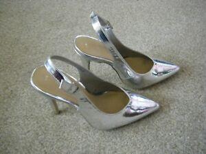 New Look Ladies Shoes Slim Heeled 3 Size Slingback Da Silver wzSqaP